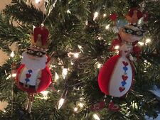 Pair of Glitter King and Queen Valentine's Day Ornaments NWT Metal Flocked