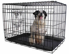 24'' 2 Doors Wire Folding Pet Crate Dog Cat Cage Suitcase Kennel Playpen w/ Tray