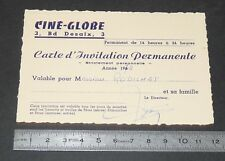 CARTE D'INVITATION PERMANENTE 1974 CINE-GLOBE CLERMONT FERRAND CINEMA