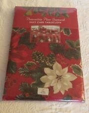 "2006 Poinsettia Pine Red Tablecloth 70"" Round New Table Linen"
