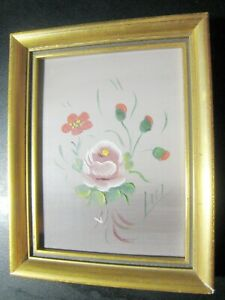OIL PAINT FLOWERS ROSES HAND MADE VERY OLD GOOD