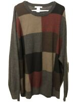 Geoffrey Beene Men's Pullover Sweater Crewneck Colorblock Sz 4XL