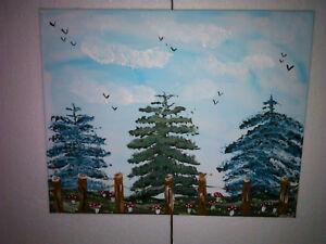 Manni Ludolf - Wald von der Gemeinde 40cm x 50cm Acryl auf Leinwand (112)