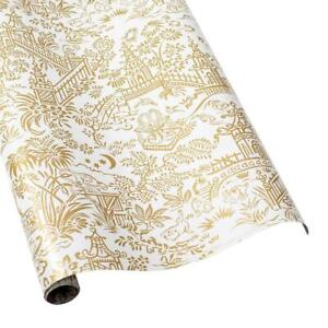 """Pagoda Toile Reversible Gift Wrapping Paper in Gold & Silver - 30"""" x 5' Roll"""