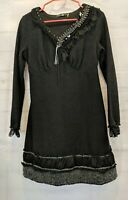 Forla Paris Size M Mixed Texture Black Knit Dress Mini Long Sleeve