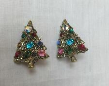 Unique Vintage Christmas Tree Clip Earrings~Rhinestone 'Ornaments'