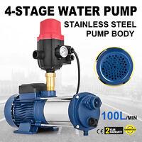 Multi Stage High Pressure Auto Water Pump 1000W Rain Tank Irrigation Garden Farm