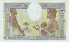 Madagascar P-40 100 francs (1937) pressed & repaired
