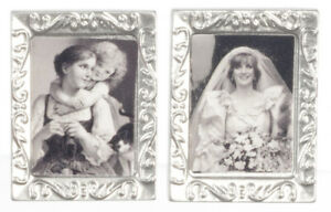 Dolls House Miniature 1:12th Scale Pair of Silver Framed Prints