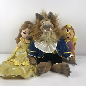 Disney Store Beauty And The Beast - Belle / Beast / Cogsworth Plush Bundle