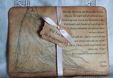 WILL YOU BE MY BRIDESMAID CARD-Keepsake-Poem-Wedding-Personalised-Vintage Style