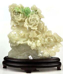 Natural Hetian White Nephrite Jade Flower Statue Carving Sculpture w Certificate