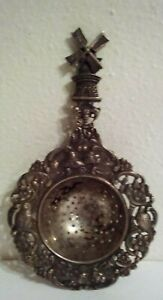 Nice Vintage Dutch Scene With Windmill Tea Strainer Hallmarked - Silver?