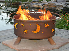 ~ OUTDOOR PATIO FIREPIT GRILL -  MOON STARS DESIGN - Free Shipping