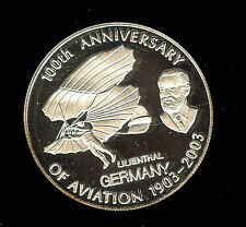 2008 Congo Large Proof 10 F Aviation Lilienthal
