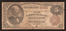 Grand Rapids, MI, Ch# 2890, 1882 $5.00 Brown Back, Earliest Reported Note!
