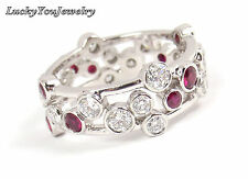 $9.5K Mint! Tiffany & Co Bubbles Platinum Diamond Ruby Band Ring Size 7.5 w/box
