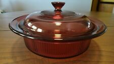 Corning Ware Vision Cookware Cranberry Glass 1 Qt Ribbed casserole dish w/lid