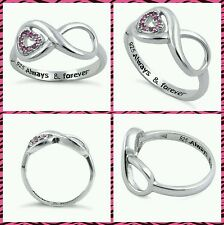 Breast Cancer Awareness/Sterling Silver Ring/925/Pink CZ/Infinity