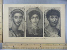 Rare Antique Orig VTG Alexandrinische Kunst Alexandrian Illustration Art Print