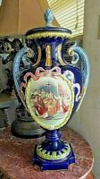 """Antique Huge French Faience Urn with Lid, XIX C. 25"""" H."""