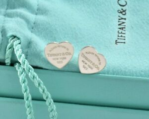 Please Return To Tiffany & Co Sterling Silver 11mm Heart Earrings and Pouch