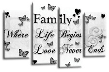 LARGE FAMILY QUOTE BLACK AND WHITE CANVAS WALL ART PICTURE 4 PANEL SPLIT SET 1