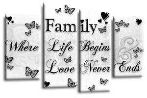 "BLACK WHITE QUOTE WALL ART CANVAS FAMILY PICTURE 4 PANEL SPLIT SET 1 44"" X 27"""