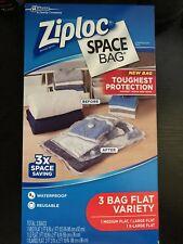 Ziploc Space Bag, 3 Bag Flat Variety. 1 Medium, 1 Large,1 X-Large 3X the storage