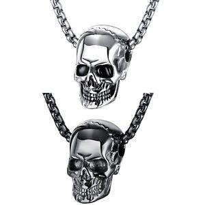 Herren Damen Halskette Edelstahl Skull Totenkopf Skelett Anhänger Kette 55cm