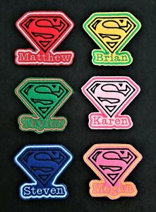 Personalised Embroidered Name Patch Badge Super Man Iron on or sew