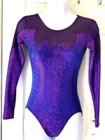 GK LgSlv ADULT SMALL PURPLE HOLOGRAM MESH GYMNASTICS DANCE LEOTARD AS NWT!