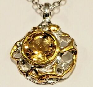 Ladies Citrine Sterling Gold Highlights Rich Pendant With Adjustable Chain