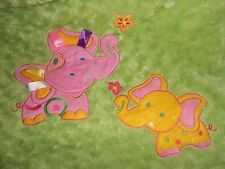Soft & Cuddly Baby Blanket Elephants Mommy Baby Ribbon Tags Pink Green Swirl