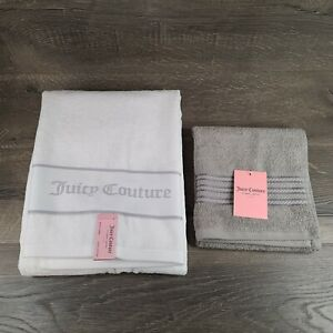 Juicy Couture White Bath Towel and Gray Hand Towel - Set of 2 Towels - New