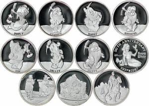 1987 Rarities Mint Disney's Snow White 1/2 oz .999 Fine Silver 11 Round Set