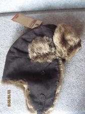 New Ruff Hewn Mens Warm Quilt Lined Soft Faux Fur Bomber Hat Cap Black OSFM $45