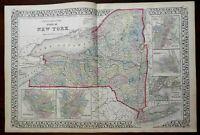 New York State Buffalo Rochester Albany Troy NYC Manhattan 1874 Mitchell map