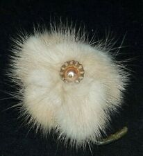 VINTAGE JEWELLERY Gorgeous 1950's Gold Tone Real Mink Fur BROOCH with Faux Pearl