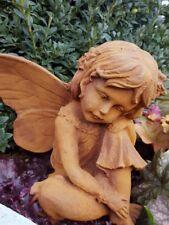 GARTENFIGUR ELFE Engel aus GUSSEISEN in Rostoptik EDELROST - Figur Eisen massiv