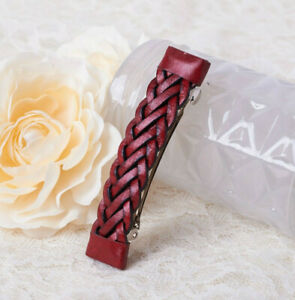 """Vintage Red Leather Braided 3 1/2"""" Hair Barrette"""