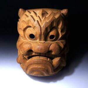 @AE43: Vintage Japanese LARGE Woodcarving Noh & Kagura Mask, Natural wood, 11.8""