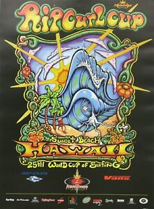 Official 1999 Drew Brophy Art Rip Curl Cup Hawaii Surf Contest New Mint Poster