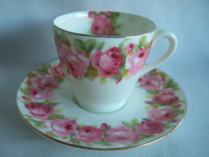 Royal Doulton Demi-Tasse. Coffee Cup & Saucer.   Raby Rose Pattern. Pink Roses.