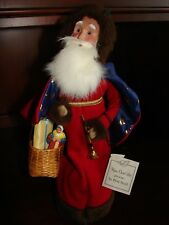 Byers Choice Christmas Caroler French Santa Le Pere Noel Red Blue Gold Stars