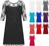 New Plus Womens Lace Lined Ladies 3/4 Sleeve Knee Length Stretch Dress 12-26