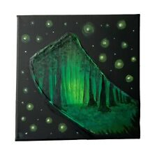 More details for original acrylic painting on black canvas forest landscape brushstroke wall art