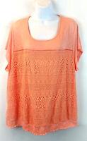 Cato Women's Lace Off Shoulder Blouse Top Peach Plus Size 26/28W New