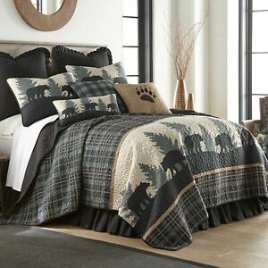 RUSTIC CABIN LODGE PRIMITIVE BEAR WALK ULTRA COMFORT QUILT COLLECTION