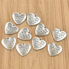 10pcs Heart Pendants You Are Always In My Heart Silver Charms for DIY Necklace